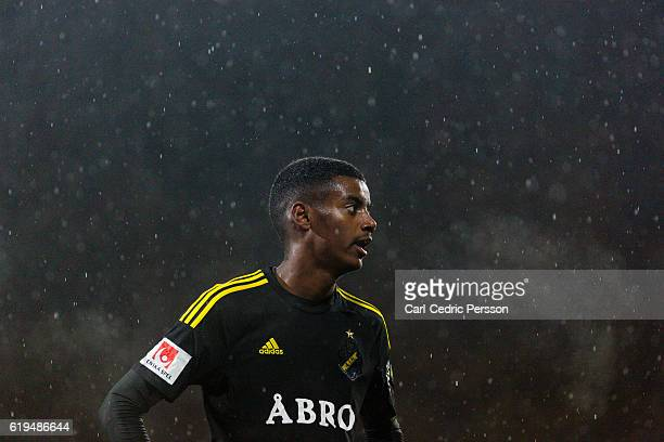 Alexander Isak of AIK during the Allsvenskan match between Jonkoping Sodra IF and AIK at Stadsparksvallen on October 31 2016 in Jonkoping Sweden