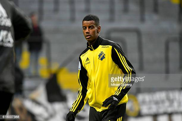 Alexander Isak of AIK during warm up ahead of the allsvenskan match between AIK and Ostersunds FK at Friends arena on October 16 2016 in Solna Sweden