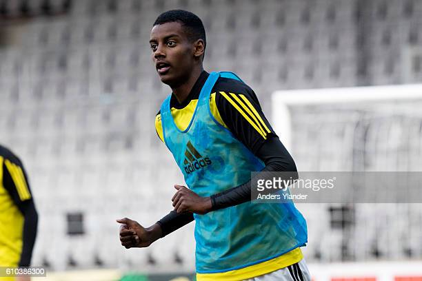 Alexander Isak of AIK during warmup prior the Allsvenskan match between IF Elfsborg and AIK at Boras Arena on September 25 2016 in Boras Sweden