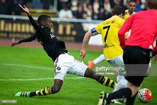 Alexander Isak of AIK in action during the Allsvenskan match between Falkenbergs FF and AIK at Falkenbergs IP on May 20 2016 in Falkenberg Sweden