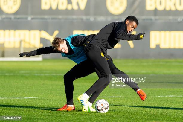 Alexander Isak of Borussia Dortmund and Jacob Bruun Larsen of Borussia Dortmund battle for the ball during a training session at BVB training center...