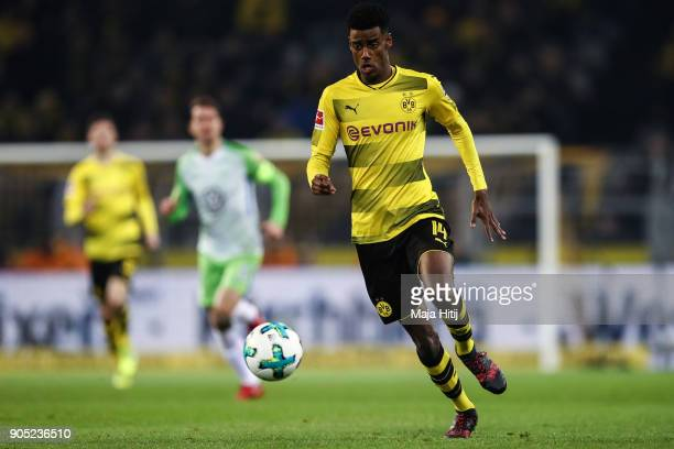 Alexander Isak of Borussia Dortmund controls the ball during the Bundesliga match between Borussia Dortmund and VfL Wolfsburg at Signal Iduna Park on...