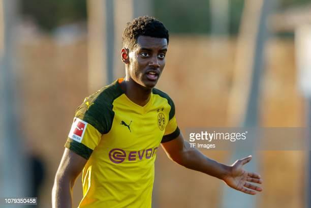 Alexander Isak of Borussia Dortmund gestures during the test match between Borussia Dortmund and Fortuna Duesseldorf as part of the Borussia Dortmund...