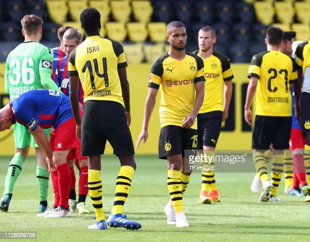 Alexander Isak of Borussia Dortmund II Jeremy Toljan of Borussia Dortmund II Leon Burggraf of Borussia Dortmund II and Jose Relucio of Borussia...