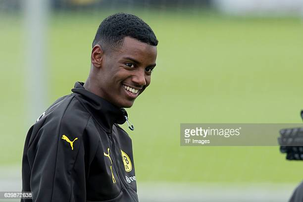Alexander Isak of Borussia Dortmund laughs during a training session at the BVB Training center on January 25 2017 in Dortmund Germany