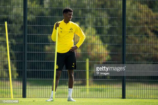 Alexander Isak of Borussia Dortmund looks on during the Borussia Dortmund training session on September 15 2018 in Dortmund Germany