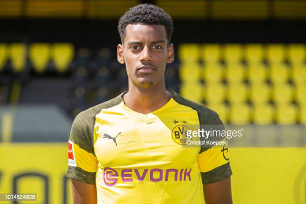 Alexander Isak of Borussia Dortmund looks on during the team presentation at Training Ground Brackel on August 10 2018 in Dortmund Germany