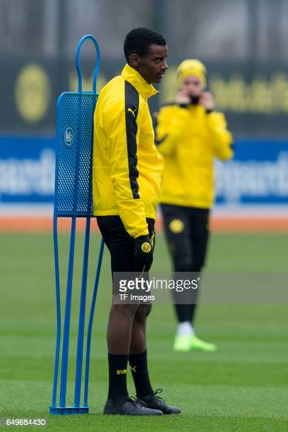 Alexander Isak of Borussia Dortmund prepares prior the training of Borussia Dortmund ahead of the UEFA Champions League Round of 16 second leg match...
