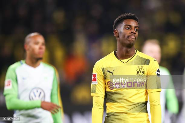 Alexander Isak of Borussia Dortmund reacts during the Bundesliga match between Borussia Dortmund and VfL Wolfsburg at Signal Iduna Park on January 14...