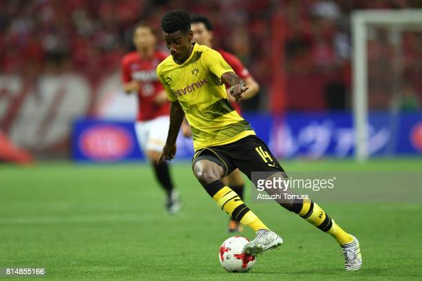 Alexander Isak of Borussia Dortmund runs with the ball during the preseason friendly match between Urawa Red Diamonds and Borussia Dortmund at...