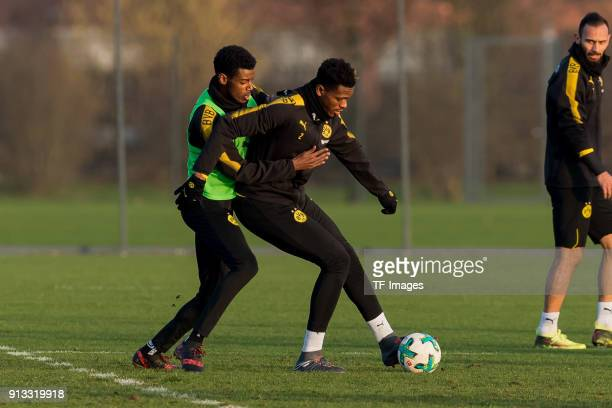 Alexander Isak of Dortmund and DanAxel Zagadou of Dortmund battle for the ball during a training session at BVB trainings center on January 30 2018...