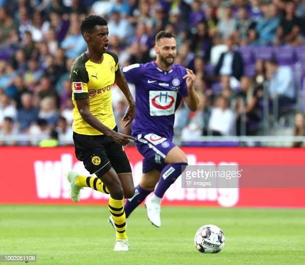 Alexander Isak of Dortmund and Michael Madl of Austria Wien during the friendly match between Austria Wien and Borussia Dortmund at Generali Arena on...