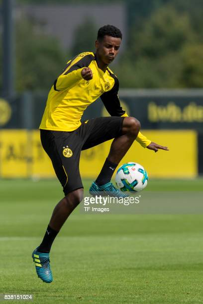Alexander Isak of Dortmund controls the ball during a training session at the BVB Training center on August 22 2017 in Dortmund Germany