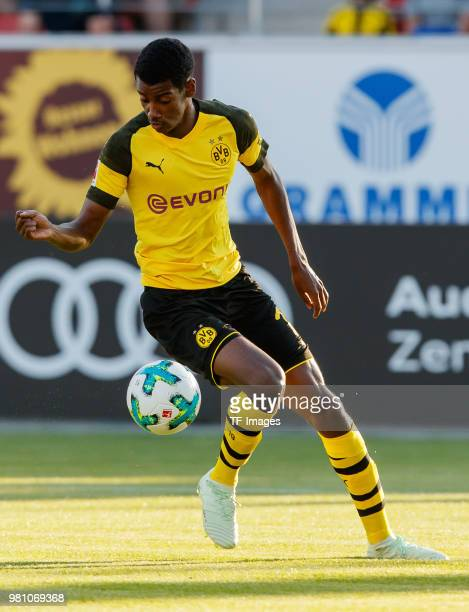 Alexander Isak of Dortmund controls the ball during the Friendly Match match between FSV Zwickau and Borussia Dortmund at Stadion Zwickau on May 14...