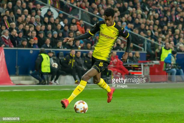 Alexander Isak of Dortmund controls the ball during UEFA Europa League Round of 16 second leg match between FC Red Bull Salzburg and Borussia...