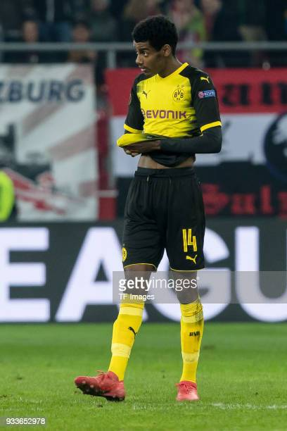 Alexander Isak of Dortmund looks dejected after UEFA Europa League Round of 16 second leg match between FC Red Bull Salzburg and Borussia Dortmund at...