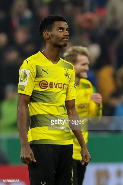 Alexander Isak of Dortmund looks on during the DFB Cup match between Bayern Muenchen and Borussia Dortmund at Allianz Arena on December 20 2017 in...