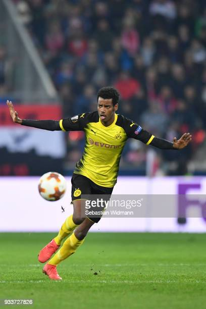 Alexander Isak of Dortmund plays the ball during the UEFA Europa League Round of 16 2nd leg match between FC Red Bull Salzburg and Borussia Dortmund...