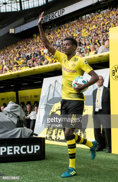 Alexander Isak of Dortmund welcomes the fans during the Borussia Dortmund Season Opening 2017/18 at Signal Iduna Park on August 4 2017 in Dortmund...