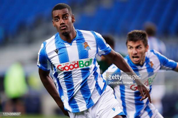 Alexander Isak of Real Sociedad celebrates 2-1 during the La Liga Santander match between Real Sociedad v Espanyol at the Estadio Anoeta on July 2,...