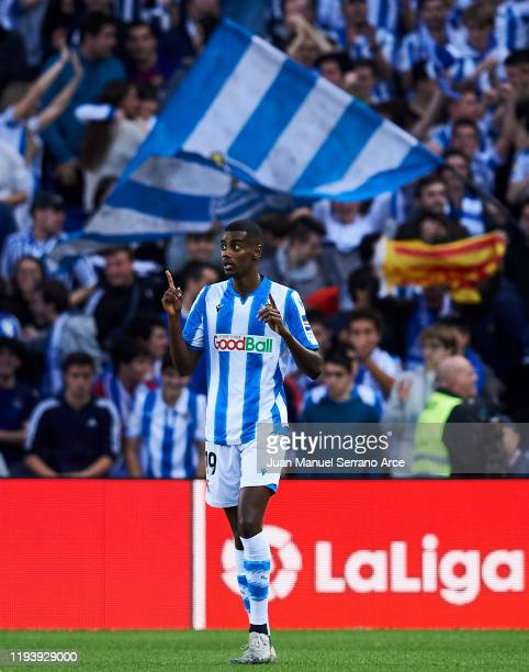 Alexander Isak of Real Sociedad celebrates after scoring his team's second goal during the Liga match between Real Sociedad and FC Barcelona at...