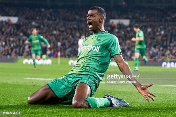Alexander Isak of Real Sociedad celebrates after scoring his team's second goal during the Copa del Rey Quarter Final match between Real Madrid CF...