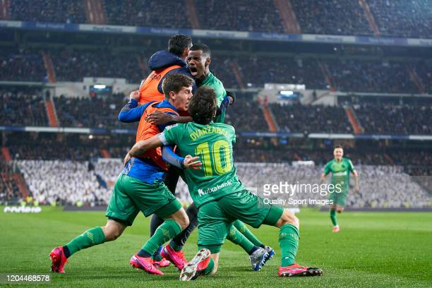 Alexander Isak of Real Sociedad celebrates with his team mates after scoring his team's second goal during the Copa del Rey Quarter Final match...