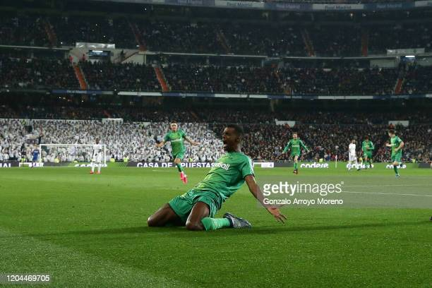 Alexander Isak of Real Sociedad de Futbol celebrates scoring their second goal during the Copa del Rey quarter final match between Real Madrid and...