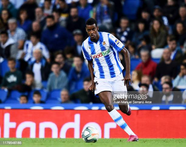 Alexander Isak of Real Sociedad in action during the Liga match between Real Sociedad and Getafe CF at Estadio Anoeta on October 06 2019 in San...