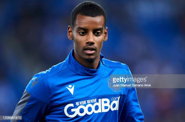 Alexander Isak of Real Sociedad looks on prior to the start the La Liga match between Real Sociedad and Real Valladolid CF at Estadio Anoeta on...
