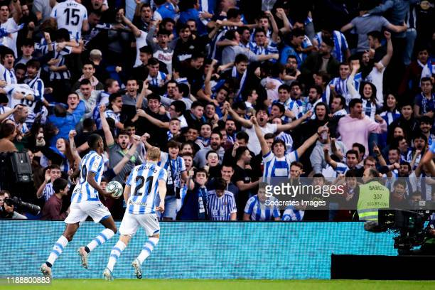 Alexander Isak of Real Sociedad Martin Odegaard of Real Sociedad celebrates goal 22 during the La Liga Santander match between Real Sociedad v FC...