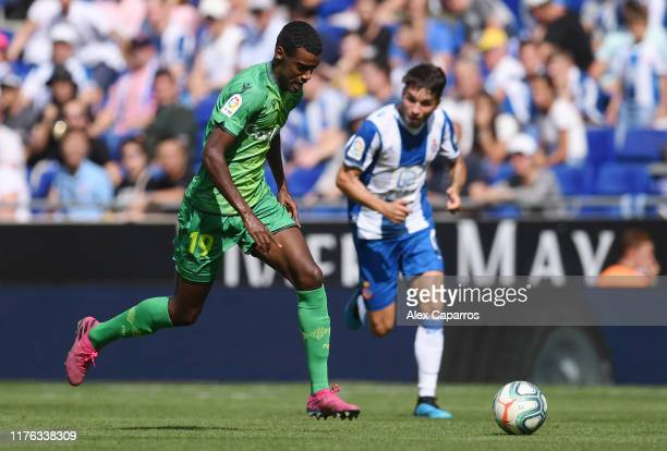 Alexander Isak of Real Sociedad runs with the ball during the Liga match between RCD Espanyol and Real Sociedad at RCDE Stadium on September 22 2019...
