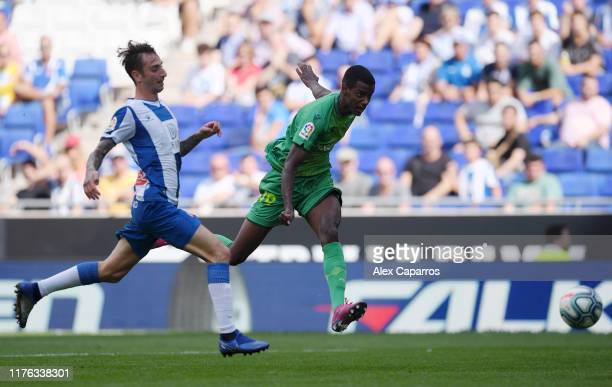 Alexander Isak of Real Sociedad scores his teams third goal during the Liga match between RCD Espanyol and Real Sociedad at RCDE Stadium on September...