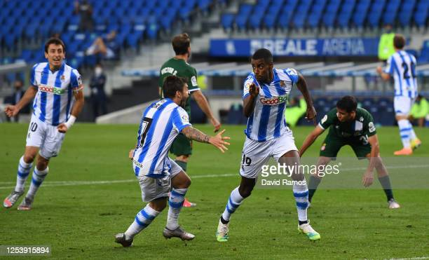 Alexander Isak of Sociedad celebrates scoring the second goal during the Liga match between Real Sociedad and RCD Espanyol at Reale Arena on July 02...