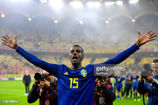 Alexander Isak of Sweden celebrates after the gameduring the UEFA Euro 2020 Qualifier between Romania and Sweden at Arena Nationala on November 15...