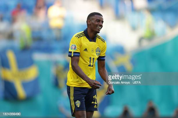 Alexander Isak of Sweden reacts during the UEFA Euro 2020 Championship Group E match between Sweden and Slovakia at Saint Petersburg Stadium on June...
