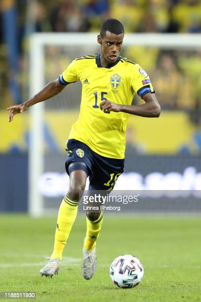 Alexander Isak of Sweden runs with the ball during the UEFA Euro 2020 Qualifier match between Sweden and Faroe Islands at Friends Arena on November...