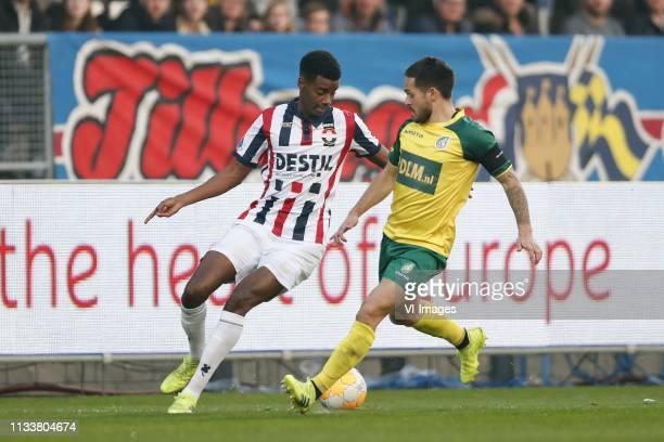 Alexander Isak of Willem II Michael Pinto of Fortuna Sittard during the Dutch Eredivisie match between Willem II Tilburg and Fortuna Sittard at...