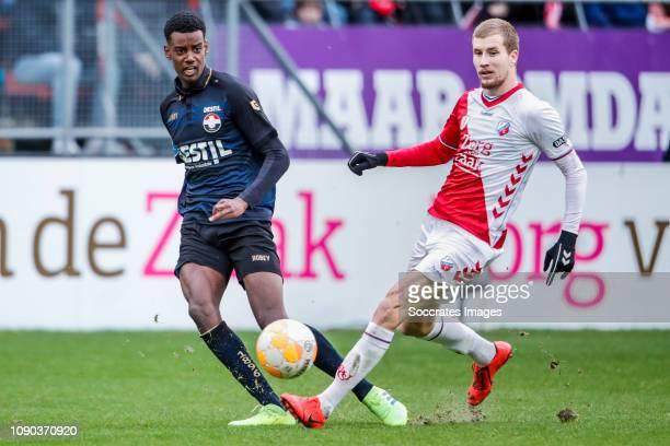 Alexander Isak of Willem II Simon Gustafson of FC Utrecht during the Dutch Eredivisie match between FC Utrecht v Willem II at the Stadium Galgenwaard...