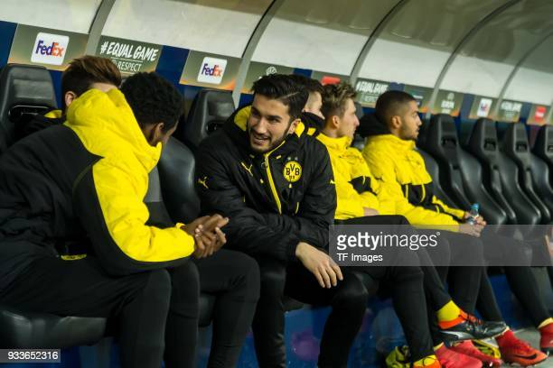 Alexander Isak Raphael Guerreiro Nuri Sahin Julian Weigl Maximilian Philipp and Jeremy Toljan of Dortmund sit on the bench prior to UEFA Europa...