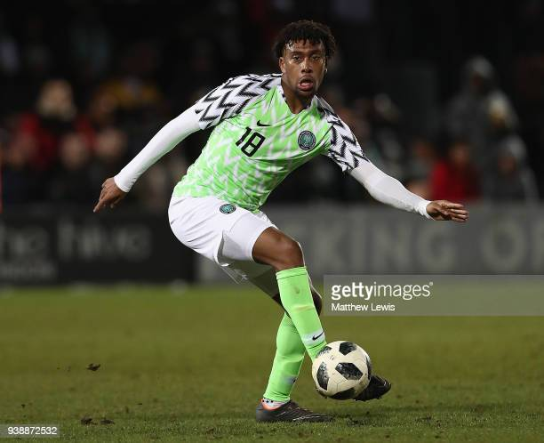 Alexander Iwobi of Nigeria in action during the International Friendly match between Nigeria and Serbia at The Hive on March 27 2018 in Barnet England