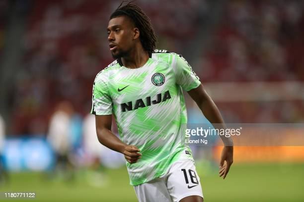 Alexander Iwobi of Nigeria warms up before the international friendly match between Brazil and Nigeria at the Singapore National Stadium on October...