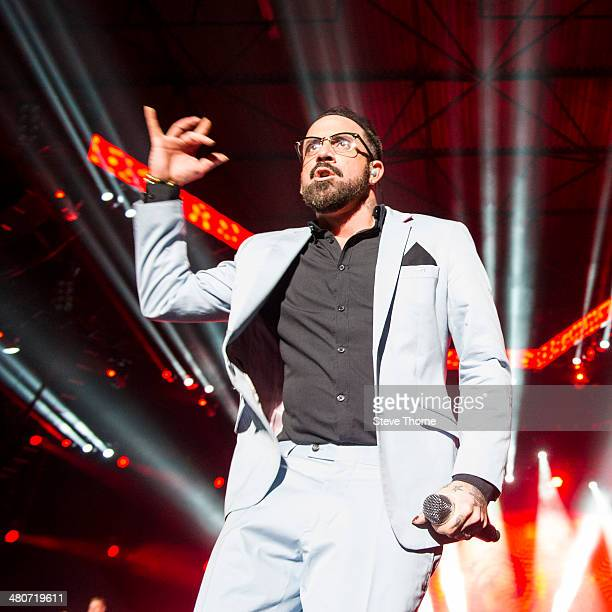 Alexander James McLean of Backstreet Boys performs on stage at LG Arena on March 26, 2014 in Birmingham, United Kingdom.