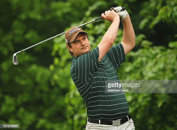 Alexander James of Olton Hall tees off on the 6th hole during the Business Fort plc English PGA Championship at the De Vere Oulton Hall Golf Club on...