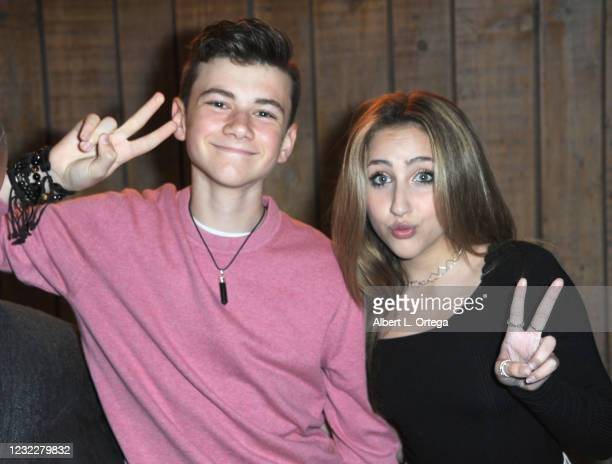 Alexander James Rodriguez and Ava Kolker attend the Sweet 16 Birthday Party for actress Chalet Lizette Brannan at Saddle Ranch Chop House on April...