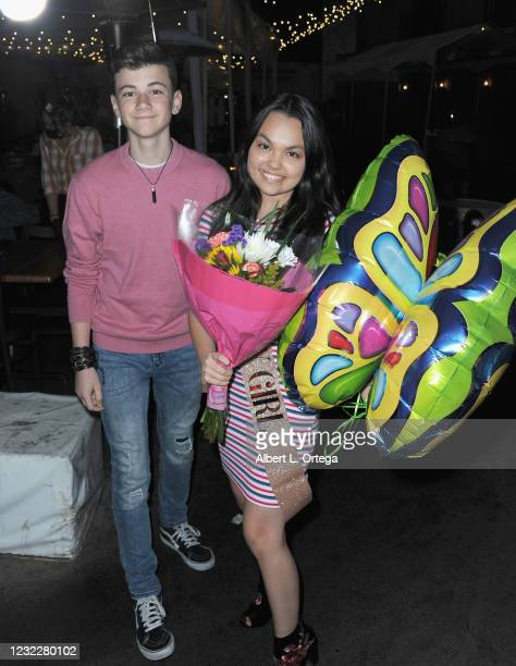 Alexander James Rodriguez poses for photos with actress Chalet Lizette Brannan during her Sweet 16 Birthday Party at Saddle Ranch Chop House on April...