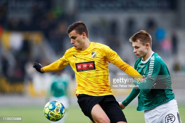 Alexander Jeremejeff of BK Hacken and Alexander Zetterstrom of IK Brage competes for the ball during the Svenska Cupen group stage match between BK...