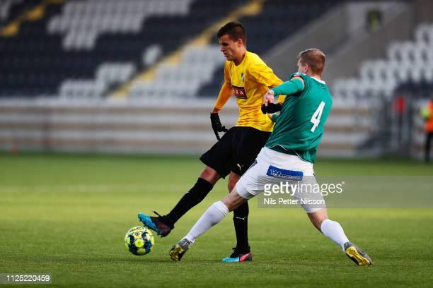Alexander Jeremejeff of BK Hacken and Mattias Liljestrand of IK Brage during the Svenska Cupen group stage match between BK Hacken and IK Brage at...