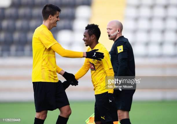 Alexander Jeremejeff of BK Hacken is substituted by Nasiru Mohammed of BK Hacken during the Svenska Cupen group stage match between BK Hacken and IK...