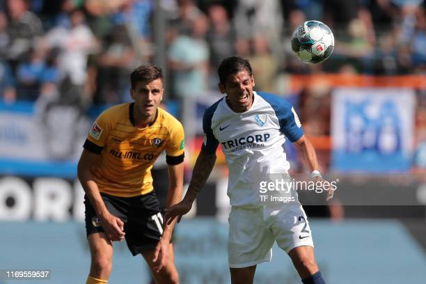 Alexander Jeremejeff of Dynamo Dresden and Cristian Gamboa of VfL Bochum battle for the ball during the Second Bundesliga match between VfL Bochum...
